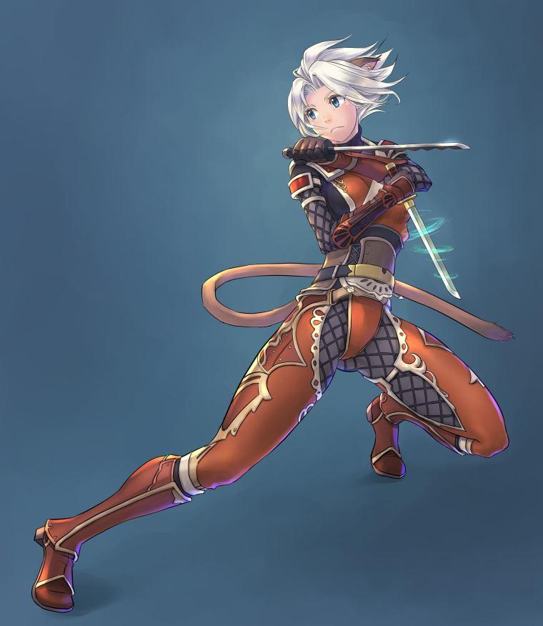 FFXI Mithra Ninja in AF2 Artwork
