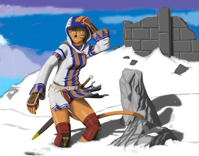 FF11 Snow Mithra en la Nieve Snow Sexy Final Fantasy XIR 11Online