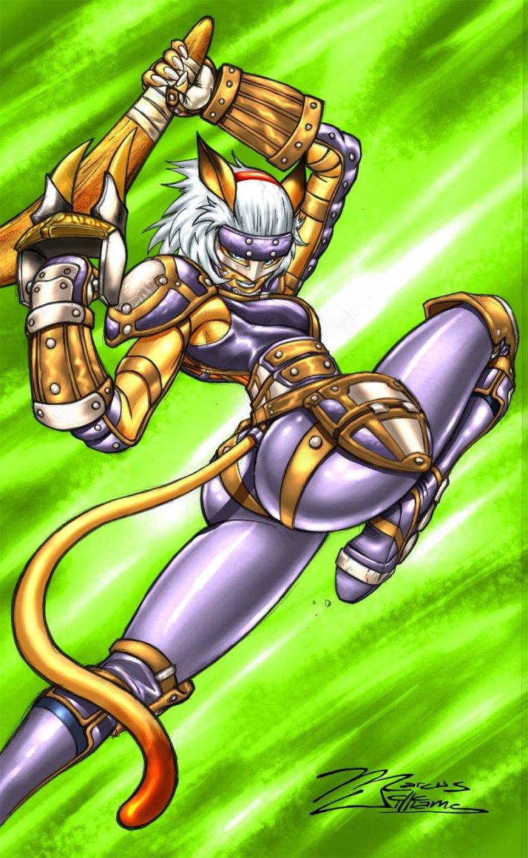 FFXI Mithra Saltando Ataque del Dragon Salto