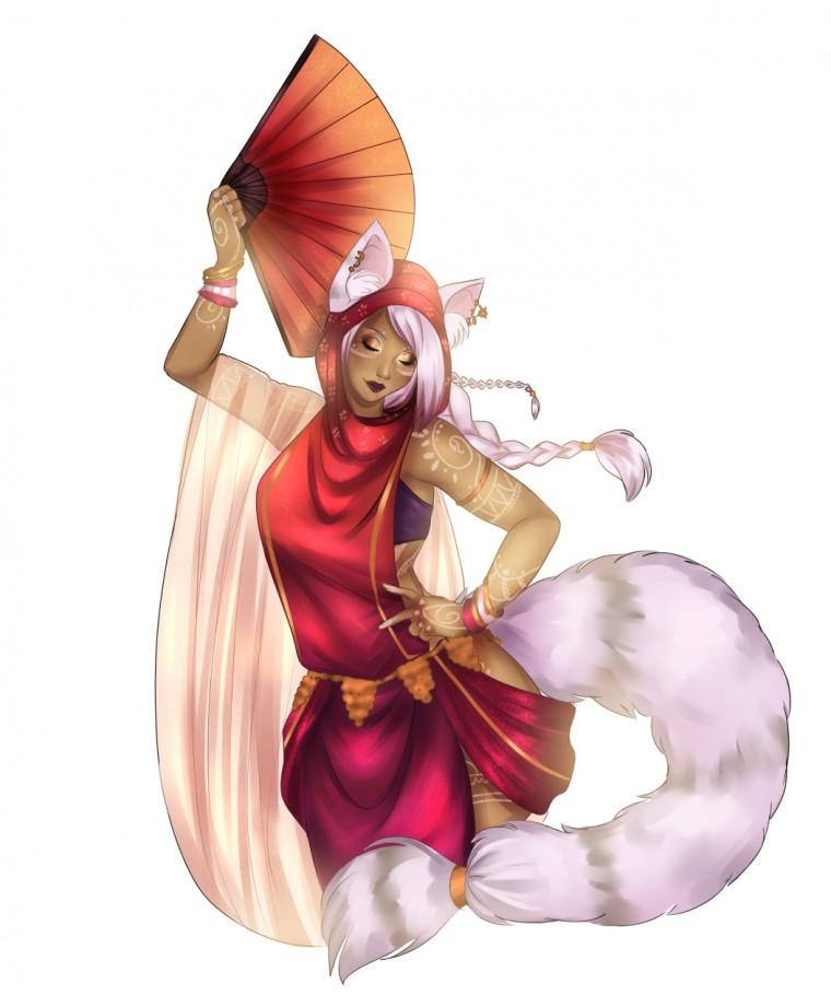 Gata abanico Mithra Final Fantasy 11 FFXI Bailarina Dancer Mithra