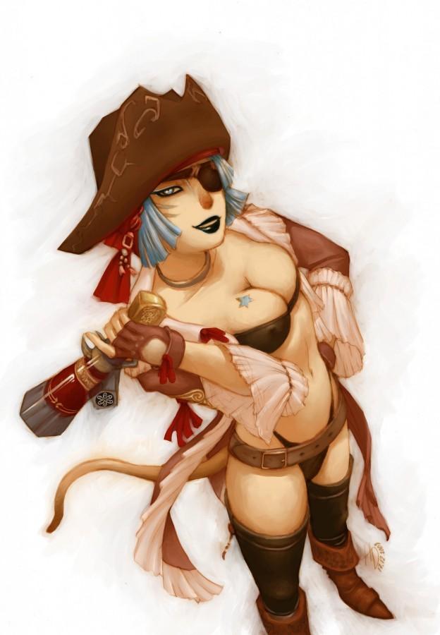 FinalFantasyXI Hentai Sexy Pirata Mithra Busty Escote